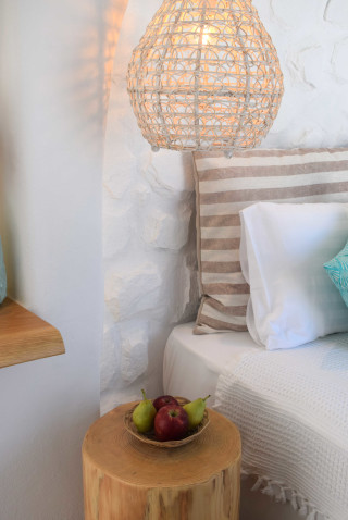 suite 2 with sea views naxian breeze bedroom and fruits